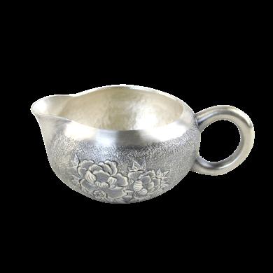 AlfunBel艾芳貝兒純手工鏨刻銀公道杯 大口徑銀茶海銀公杯990 銀茶具配件銀壺-花開富貴C-AG-98-19
