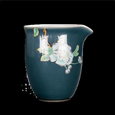 AlfunBel艾芳貝兒陶瓷茶杯內鑲銀公道杯茶海分茶器鎏銀公杯-霽藍釉海棠C-AG-9-80