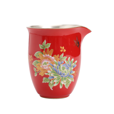 AlfunBel艾芳貝兒陶瓷茶杯內鑲銀公道杯茶海分茶器鎏銀公杯-紅色牡丹C-AG-9-8