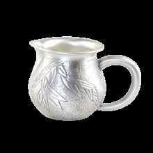 AlfunBel艾芳贝儿纯?#27490;?#37694;刻银公道杯 银茶海银公杯990 银茶具配件银壶-竹报平安C-AG-98-15