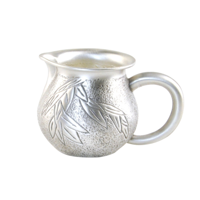 AlfunBel艾芳贝儿纯手工錾刻银公道杯 银茶海银公杯990 银茶具配件银壶-竹报平安C-AG-98-15