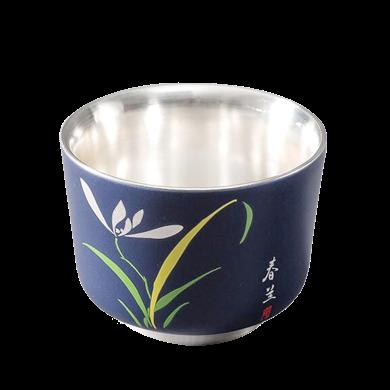 AlfunBel艾芳贝儿陶瓷茶杯内镶银功夫茶杯主人杯激光雕刻鎏银品杯-蓝色春兰C-AG-9-7