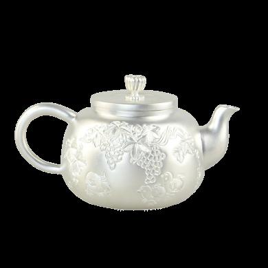 AlfunBel艾芳貝兒 S990銀壺銀茶壺西施壺 純手工功夫茶具 小泡茶壺銀煮茶壺-葡萄小雞C-AG-1-10(243克)