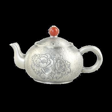 AlfunBel艾芳貝兒 S990銀壺銀茶壺 純手工功夫茶具 小泡茶壺銀煮茶壺-花開富貴C-AG-1-5(248克)