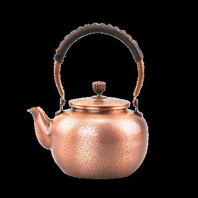 手工純銅壺 仿古銅茶壺 大號燒水壺加厚紫銅壺煮茶壺-虎皮紋C-76-1-9