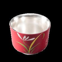 AlfunBel艾芳贝儿陶瓷茶杯内镶银功夫茶杯主人杯激光雕刻鎏银品杯-红色春兰C-AG-9-3