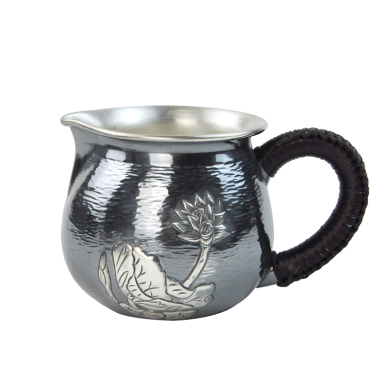 AlfunBel艾芳貝兒純手工鏨刻銀公道杯 銀茶海銀公杯990 銀茶具配件銀壺-魚戲荷葉C-AG-98-12