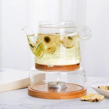 谜家 耐热玻璃茶具套装果茶壶套装带加热炉下午茶蜡烛茶具套装 俪人茶壶套装 俪人茶壶套装