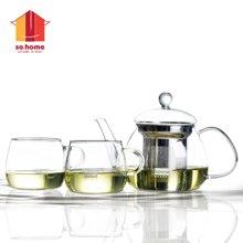 sohome 贝蒂茶壶套装 耐热玻璃过滤杯茶具花茶壶 一壶两杯GT719-A