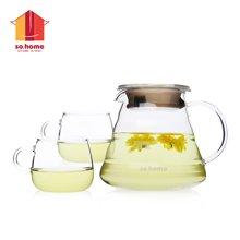 sohome 云朵花茶壶三件套 耐热玻璃泡茶壶花茶壶 一壶两杯GT742-A