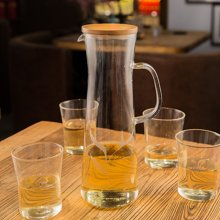 sohome 风尚竹木系列水具五件套 耐热玻璃茶壶过滤泡茶壶GR501-A