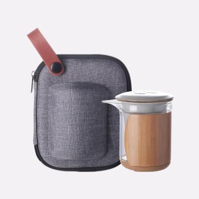 祥福 旅行功夫茶具便携式套装 玻璃车载快客杯一壶两杯随身包