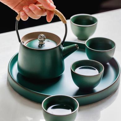 摩登主婦 復古手提小茶壺粗陶普洱茶泡茶壺創意水杯茶具茶盤套裝