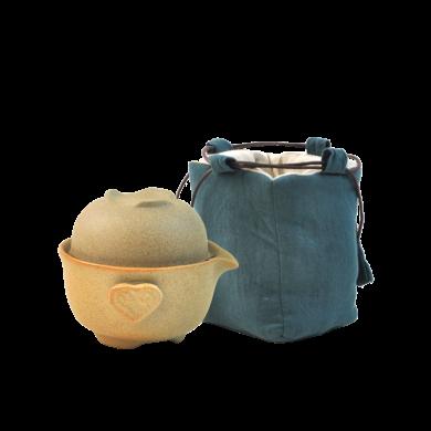 AlfunBel艾芳貝兒茶具粗陶快客杯泡茶壺旅行茶具隨手套裝茶具(1壺1杯1布包)C-43-5-99