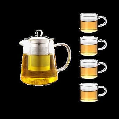 AlfunBel艾芳貝兒茶具-高硼硅耐熱玻璃茶壺泡花茶壺不銹鋼加厚套裝 帶過濾泡茶器 950毫升一壺四杯C-85-16-9