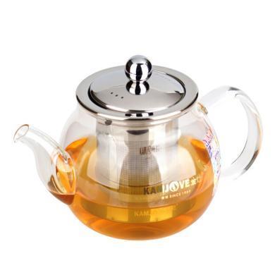 AlfunBel艾芳贝儿-茶具-金灶A07耐热玻璃茶道办公飘逸玻璃杯 花茶壶 茶艺壶 泡茶杯不锈钢过滤内胆600ML C-90-14