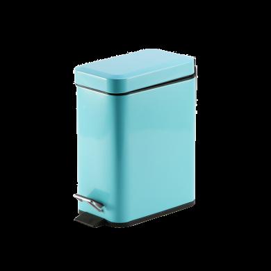 AlfunBel艾芳貝兒 簡約歐式家用酒店賓館商場辦公廚房用緩降靜音帶蓋腳踏式垃圾桶-長方形時尚藍5L E-54-FSC-B-5L
