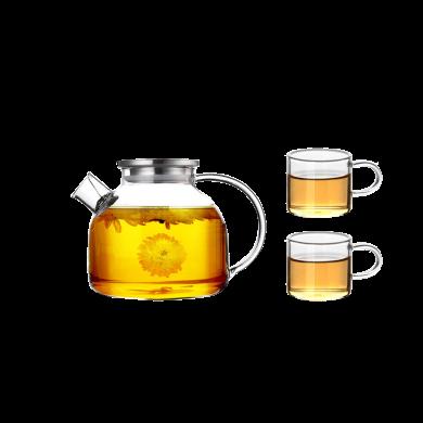 AlfunBel艾芳貝兒茶具-高硼硅耐熱玻璃加厚花茶壺帶過濾大容量冷水壺涼水壺果汁壺大口徑不銹鋼蓋1000ML一壺二杯