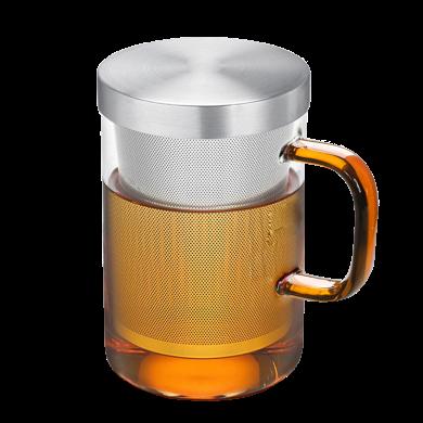 AlfunBel艾芳貝兒茶具高硼硅耐熱玻璃杯304不銹鋼內膽杯個人沖泡器花茶杯-琥珀色把手C-85-22-3