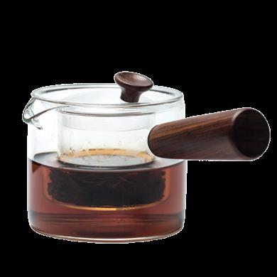 AlfunBel 艾芳貝兒茶道工具 側把加厚耐熱玻璃分體煮泡茶青柑壺兩用帶蓋過濾內膽泡茶壺煮茶器公道杯功夫茶具-實木把C-85-24-10