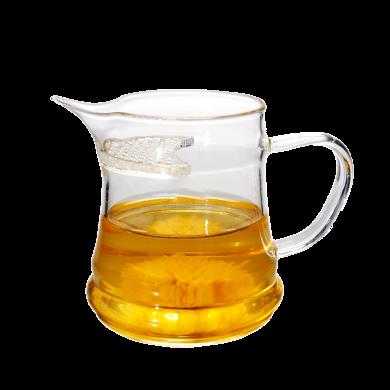 AlfunBel艾芳貝兒茶道工具 綠茶簡易泡茶壺 月牙濾網沖茶器 泡茶公杯兩用自在杯 玻璃泡茶杯C-85-25-3