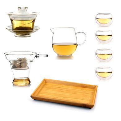 AlfunBel艾芳貝兒茶具-高硼硅耐熱玻璃茶具套裝蓋碗公杯茶濾茶杯竹托盤組合 功夫茶具C-85-1-99