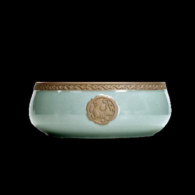 AlfunBel艾芳貝兒茶洗水洗哥窯陶瓷大號筆洗創意個性杯洗茶具配件茶道工具(可做花器)-神獸C-8-7