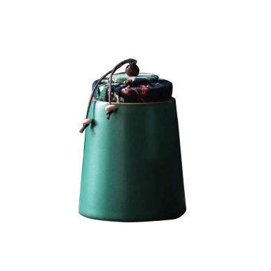AlfunBel艾芳贝儿大号粗陶麻?#20960;?#33590;?#35910;?#20648;物罐茶罐普洱罐花茶罐糖果罐密封罐-浮生若茶墨绿陶釉C-86-11-12