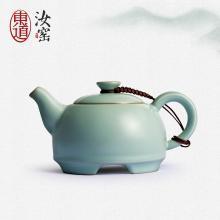 东道汝窑功夫茶具茶壶富贵吉祥茶壶陶瓷茶壶过滤开片礼盒装圆融单壶