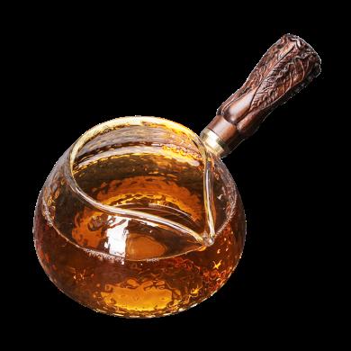 AlfunBel 艾芳貝兒茶道工具 實木木側把錘目紋玻璃公道杯功夫茶具配件防燙公杯木把茶海木把分茶器-錘目紋百財把手C-85-24-6