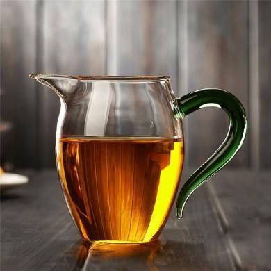 AlfunBel 艾芳贝儿 茶具-茶道工具 高硼硅耐热玻璃企鹅公道杯-炫彩绿森林(380ML)C-85-20-1