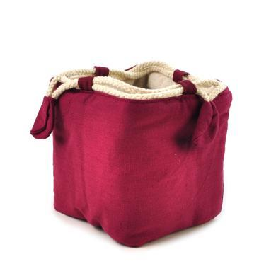 AlfunBel艾芳貝兒 手工棉麻布藝袋麻布袋茶 旅行收納茶袋(只含袋子不含茶具)-酒紅C-T-1-4