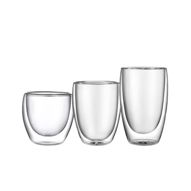 AlfunBel艾芳貝兒茶具-高硼硅耐熱玻璃杯水杯 隔熱玻璃飲料牛奶咖啡雙層杯-三只裝(250ML+350ML+450ML)C-85-28-99