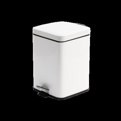 AlfunBel艾芳貝兒 簡約歐式家用酒店賓館商場辦公廚房用緩降靜音帶蓋腳踏式垃圾桶-正方形簡約白6L E-54-JSZ-W-6L