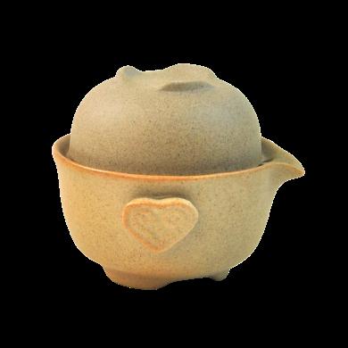 AlfunBel艾芳貝兒茶具粗陶快客杯泡茶壺旅行茶具隨手套裝茶具(1壺1杯)C-43-5