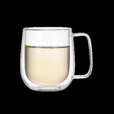 AlfunBel艾芳貝兒茶具-高硼硅耐熱玻璃杯水杯 隔熱玻璃飲料牛奶咖啡雙層杯-把手款(260ML)C-85-28-4
