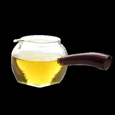 AlfunBel 艾芳貝兒茶道工具 實木木側把錘目紋玻璃公道杯功夫茶具配件防燙公杯木把茶海木把分茶器-錘目紋C-85-24-1