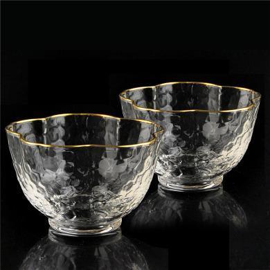AlfunBel艾芳貝兒茶具日式金邊錘紋品茗杯小茶杯一口杯功夫茶道玻璃品杯描金茶杯-梅花款(2只裝)C-85-26-1-2