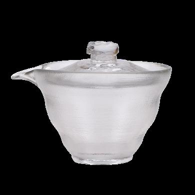 AlfunBel艾芳貝兒茶具-茶道工具耐熱玻璃加厚蓋碗-冰紋(150ML)C-85-1-2