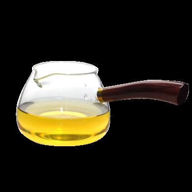 AlfunBel 艾芳貝兒茶道工具 實木木側把錘目紋玻璃公道杯功夫茶具配件防燙公杯木把茶海木把分茶器-加厚水滴形C-85-24-3
