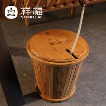 祥福茶具竹制排水茶水桶茶渣茶水桶 功夫茶具茶道茶桶配件