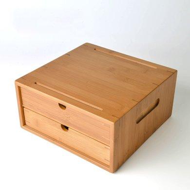 祥福 竹制普洱茶盒 功夫茶具配件 雙層白茶倉 抽屜式茶葉收納盒