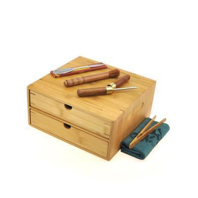 祥福雙倉普洱茶盒工具套裝(2分茶盤1茶盒1茶針1養壺筆1茶刀1茶巾1茶夾)C-91-20