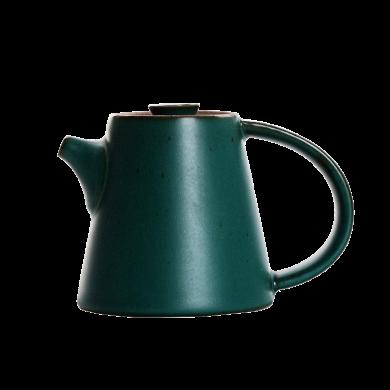 AlfunBel艾芳貝兒日式粗陶茶壺 仿古陶瓷泡茶壺陶壺 功夫茶具單壺手執壺-墨綠陶釉C-1-14