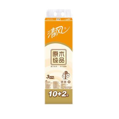 m清风原木纯品3层270段10+2卷筒卫生纸(270段*12卷)