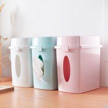 阡佰家 桌面垃圾桶塑料筒簡約廚房桶雜物框辦公室兩用紙巾盒垃圾筒廢紙簍BY-6312
