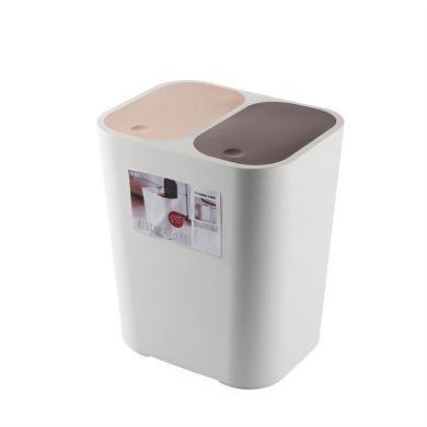 阡佰家  新款雙蓋彈開式分類垃圾桶 廚房垃圾分類 垃圾桶  BY-6508