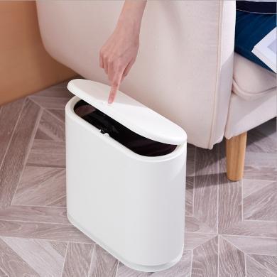 日本橢圓形按壓式彈蓋垃圾桶 干濕垃圾桶塑料衛生間衛生桶