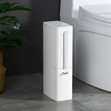 百露日式卫生间垃圾桶家用夹缝马桶刷套装带盖窄型厕所纸篓
