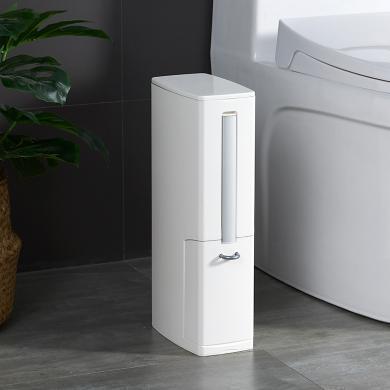 百露日式衛生間垃圾桶家用夾縫馬桶刷套裝帶蓋窄型廁所紙簍